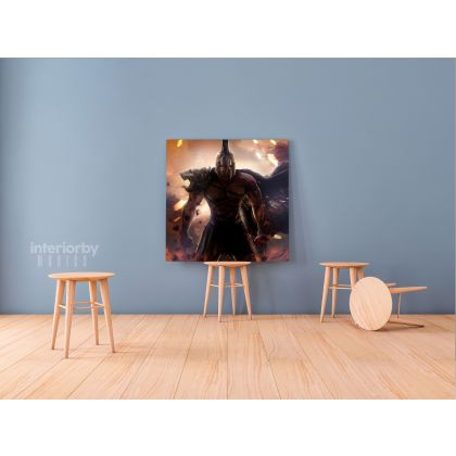 Spartan Soldier Gamer Wall Art Modern Abstract Gaming Zone Warrior Poster Print Canvas with Frame Kids Home Decor Wall Hangings Mural Gift