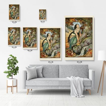 Original Painting Wall Artwork in Canvas with Frame, Model Women Painting Photo Poster Print in Canvas