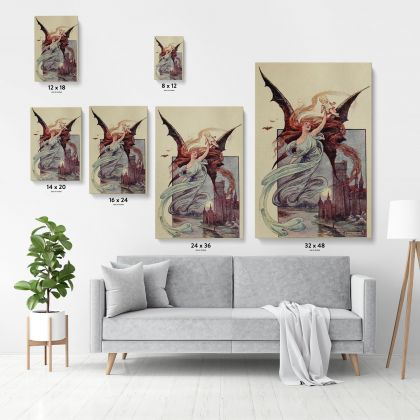 Fairy Wall Artwork Original Painting in Canvas with Frame Fairy Painting Photo Poster Print on Canvas