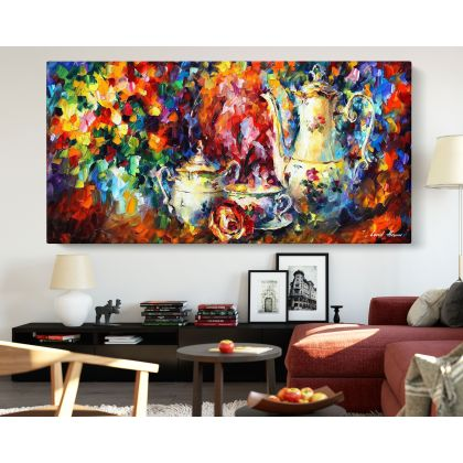 Tea Party Palette Knife Oil Painting by Leonid Afremov Photo Print on Canvas with Frame Home Decor Wall Mural