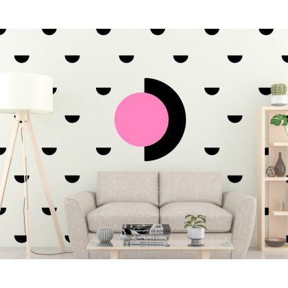 Set of 35 small Half Circle with Big Half Circle Pattern Wall Decals