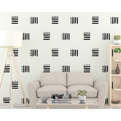 Set of 24 lines with Polka Dots Geometric Pattern Wall Decal Abstract Wall Art