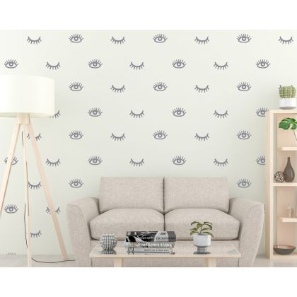 Set of 56 Eyelashes Pattern Wall Decals Boho Wall Sticker