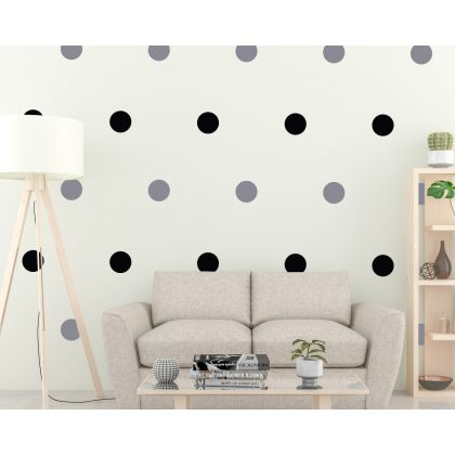 2 Colour Polka Dots Geometric Pattern Wall Decals