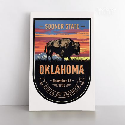 Oklahoma Sooner State of America Emblem Canvas Wall Artwork For Mural Wall Hanging