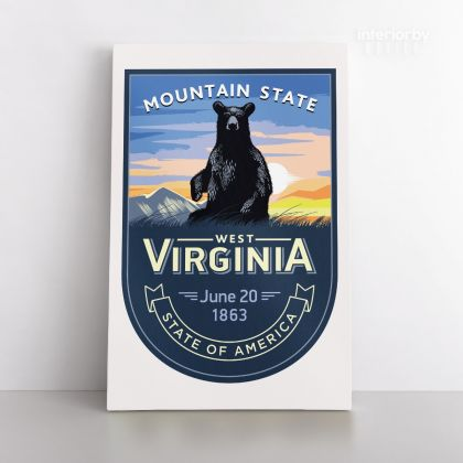 West Virginia State of America Emblem Canvas Wall Artwork For Mural Wall Hanging