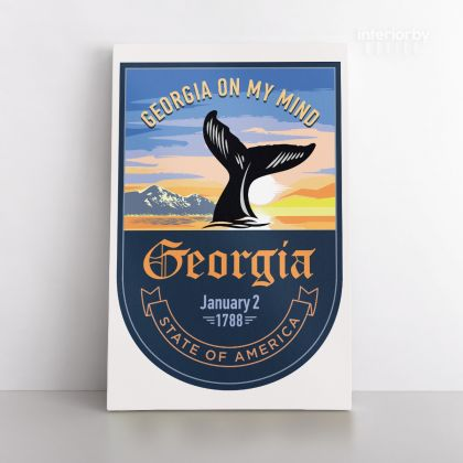 Georgia State of America Emblem Canvas Wall Artwork for Mural Canvas Wall Hanging