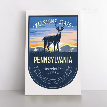 PENNSYLVANIA Keystone State of America Emblem Canvas Wall Artwork For Mural Hanging