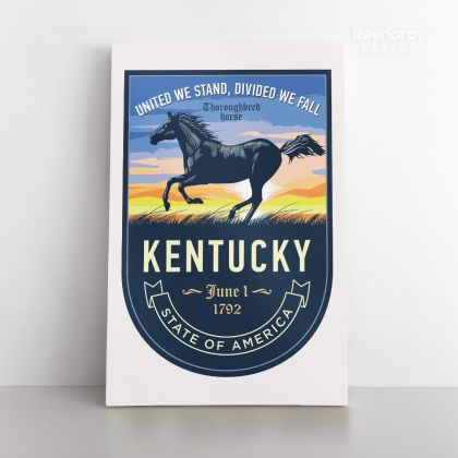 KENTUCKY United We Stand, Divided We Fall State of America Emblem Canvas Wall Artwork For Mural Print