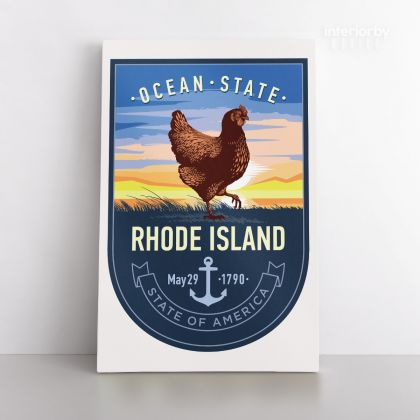 Rhode Island Ocean State of America Emblem Canvas Wall Artwork For Mural Print