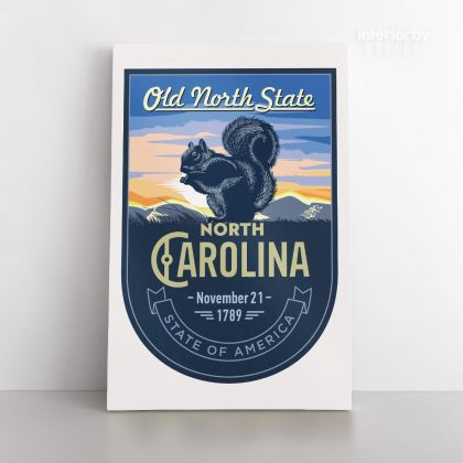 North Arolina Old North State of America Emblem Canvas Wall Artwork Mural Print For Home Decor