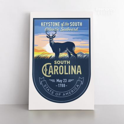 South Arolina Keystone of the South Atlantic Seaboard State of America Emblem Canvas Wall Artwork Print For Home Decor