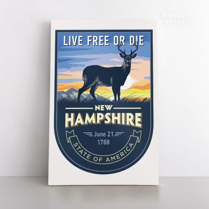 New Hampshire Live Free Or Die State of America Emblem Canvas Wall Artwork Mural Print