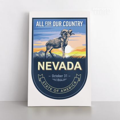 Nevada All For Our Country State of America Emblem Canvas Wall Artwork Mural Print For Home Decor