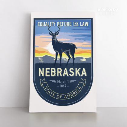 Nebraska Equality Before The Law State of America Emblem Canvas Wall Artwork Mural Print For Home Decor
