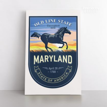 Maryland Old Line State of America Emblem Canvas Wall Artwork Mural Print For Home Decor