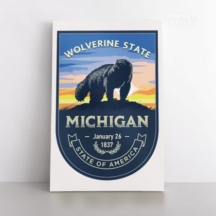 Michigan Wolverine State of America Emblem Canvas Wall Artwork Mural Print For Home Decor