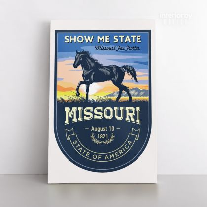 Missouri Show Me State US State of America Emblem Canvas Wall Artwork Mural Print For Home Decor