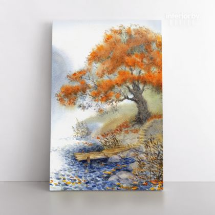 Spring Tree Watercolor Canvas with Frame Flowers Print on Canvas Wall Hangings Modern Art Picture Print Home Decoration Living Dining Room