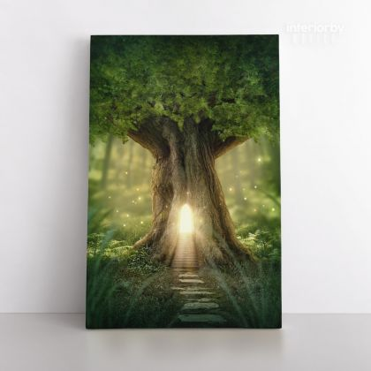 Mystic Fairy Tree of Life Enchanted Forest Mystical Lights Digital Posters Print Canvas with Frame / Rolled Canvas Home Decor Wall Hangings