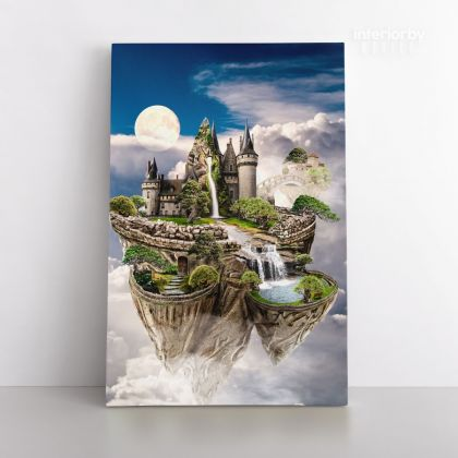 Sky Castle Blank Mystic Fairy Fantasy Posters Print Canvas with Frame/Rolled Canvas Home Decor Wall Hangings Wall Art Mural Gift Living Room