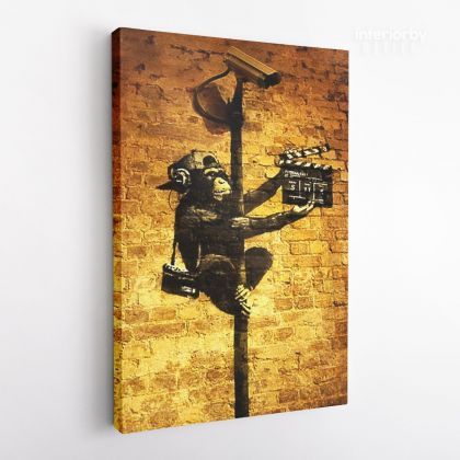 Banksy Style Graffiti Monkey Art Print Painting Framed Canvas
