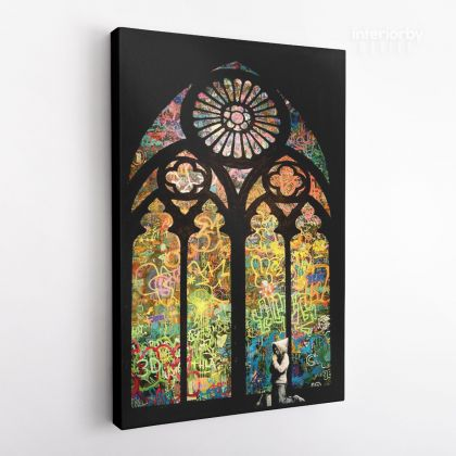 Banksy Stained Glass Window Church Canvas Print Poster Banksy Canvas