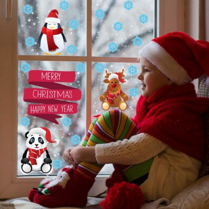 Christmas Decor Window Stickers, NewYear Decor Window Decal for Christmas