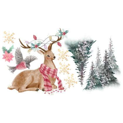Christmas Decor Window Stickers, Christmas Tree Reindeer Window Decal for Christmas Decoration