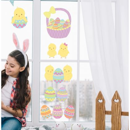 Easter Chicks with Eggs Window Stickers, Easter Eggs Window decor,Easter Chicks Window Decoration