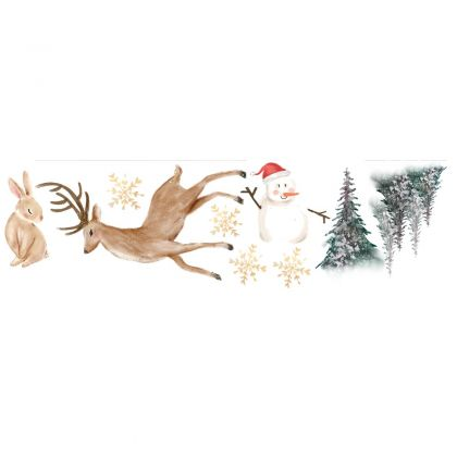 Christmas Decor Bunny Window Stickers, Christmas Tree Reindeer Window Decal for Christmas