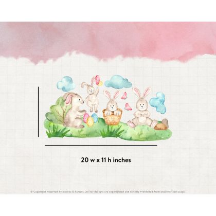 Watercolour Easter Window Stickers,Easter Bunny with Clouds Window decor,Easter Eggs Window Decoration