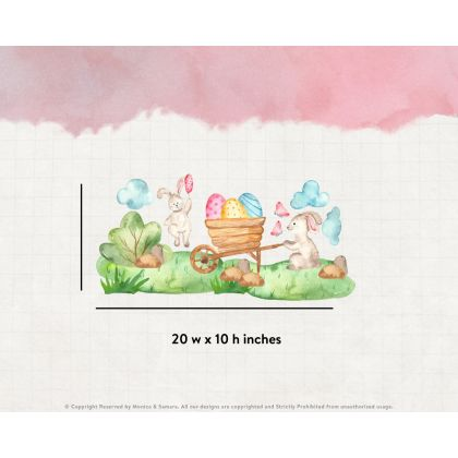 Watercolour Easter Window Stickers,Easter Bunny with Egg Cart Window decor,Easter Eggs Window Decoration