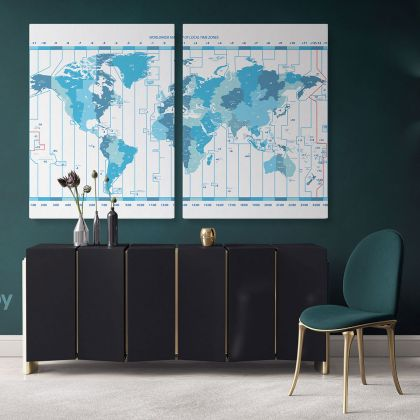 Worldwide Map of Local Time Zones Blue Colored Political World Map With White Background World Map Wall Art Map Large Map Canvas