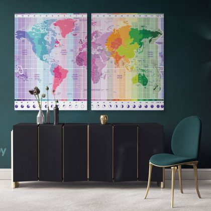 Worldwide Map of Local Time Zones Colored Political Canvas Wall Artwork Gaint Canvas Living Room Office Mural For Wall Hangings