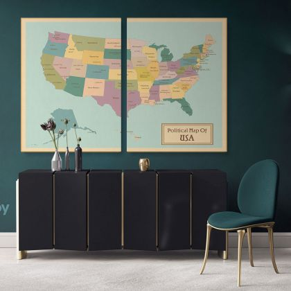 Political Map of USA America Giant World Map US States Atlas Geography Political Print In Different Sizes Living Room For Home Gift Mural Map