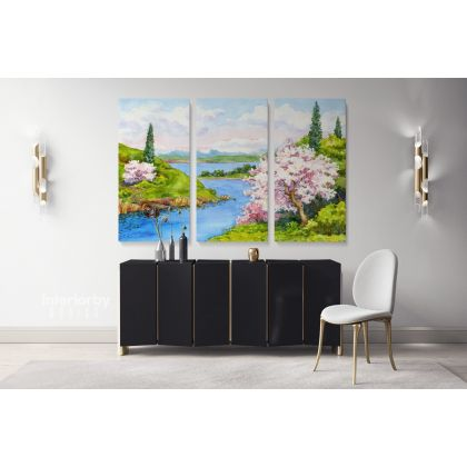 Landscape Canvas Watercolour Painting with Frame Trees Sea Print on Canvas Wall Hangings Modern Wall Art ation Living Dining Room