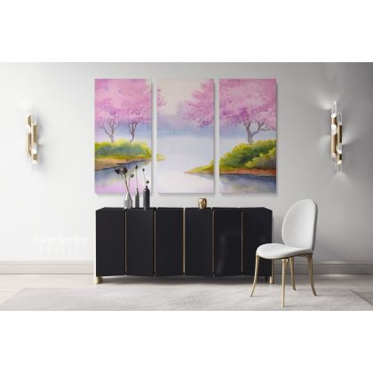 Landscape Spring Watercolour Painting Canvas with Frame Trees Print on Canvas Wall Hangings Modern Wall Art Living Dining Room