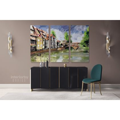 Landscape Modern Art Watercolour City Painting Canvas with Frame Print Canvas Wall Hangings Modern Wall ation Bedroom Mural Gift
