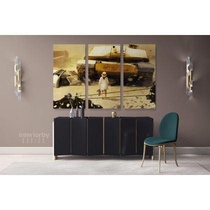 Modern Art Miltary Tanker Canvas with Frame Print Landscape War Canvas Women Wall Hangings Modern Wall ation Bedroom Mural Gift