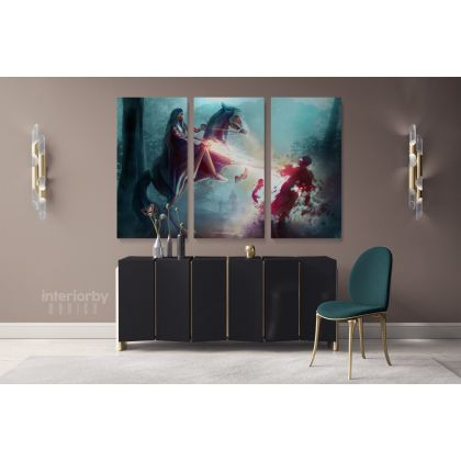 Abstract Modern Wall Art Canvas with Frame Print Poster Kids Gaming Gamer Zone Wall Hangings Modern Wall ation Bedroom Mural Gift
