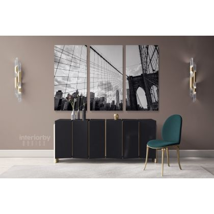 New York City Brooklyn Bridge Skyline Black & White Canvas with Frame /Roll Wall Artwork Hanging Print Poster Living Room Bedroom Mural Gift