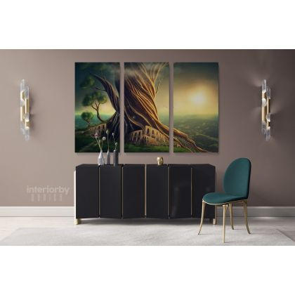 Tree of Life Canvas Set Fantasy Wall Art Canvas with Frame /Roll Modern Print Poster Living Room Bedroom Mural Gift Wall Hangings