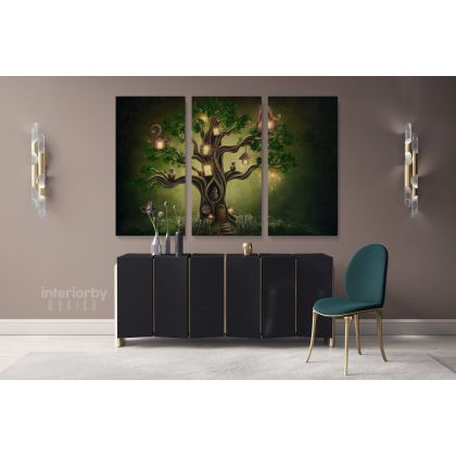 Life Of Tress Canvas Set Fantasy Wall Art Canvas with Frame/Roll Modern Print Poster Living Room Bedroom Mural Gift Wall Hangings