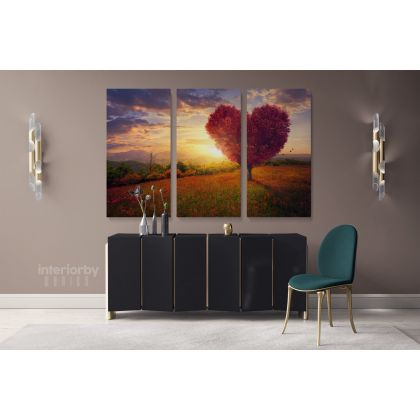 Red Heart Nature Canvas Wrap Abstract Photography with Frame/Roll Modern Print Poster Living Room Bedroom Mural Gift Wall Hanging