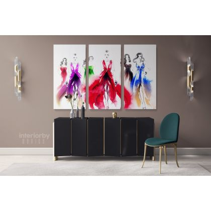 Women Fashion Abstract Original Watercolour Painting Canvas with Frame / Roll Wall Hangings Modern Mural Art Living Room Bedroom