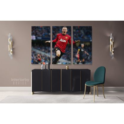 Soccer Player Wayne Rooney Sports Canvas with Frame/Rolled Canvas Kids Gaming Zone Wall Art Mural Hanging Gift Gamer Print Poster