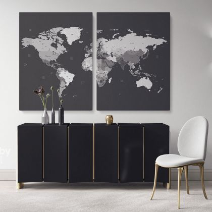 World map wall art World Map Canvas Large World Map Canvas with Frame Black and White World Atlas For Wall Artwork