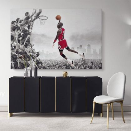 Basketball Player Michael Jordan Last Game Shot Canvas with Frame / Rolled Kids Gaming Zone Wall Art Mural Hangings Gift Sports Print Poster