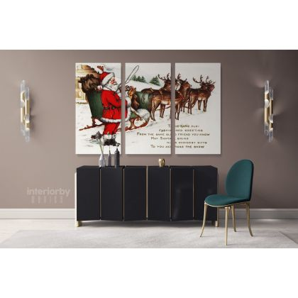 Vintage Santa Claus's Reindeer Winter Village Christmas Scene Wall Art Print Painting On Framed Canvas
